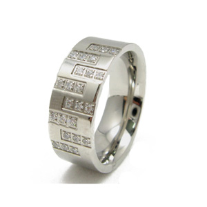 SSR0113-Stainless Steel CZ Wedding Rings