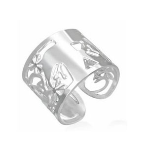 SSR0124-Faced Stainless Steel Black Ring