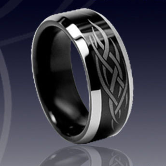 WCR0040-Black Tungsten Wedding Rings