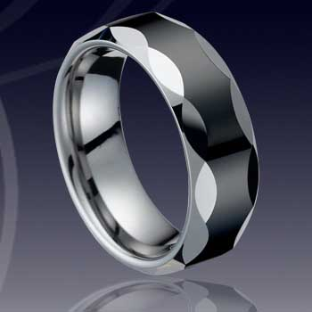WCR0043-Black Tungsten Carbide Wedding Ring