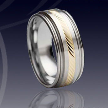 WCR0316-Tungsten Gold Inlay Wedding Band
