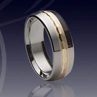 WCR0317-Tungsten Gold Inlay Wedding Bands