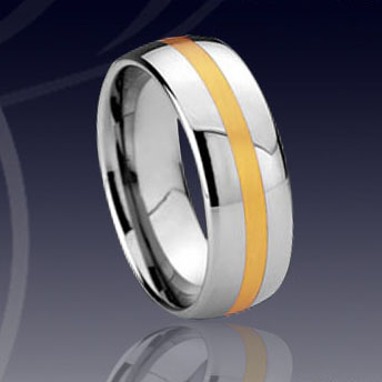WCR0318-Tungsten Ring Gold Inlay