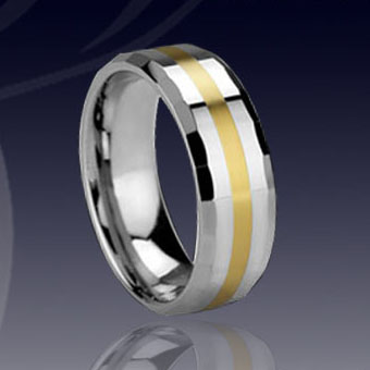 WCR0319-Tungsten Rings Gold Inlay