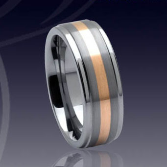WCR0320-Tungsten Wedding Ring Gold Inlay