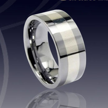 WCR0321-Tungsten Wedding Rings Gold Inlay