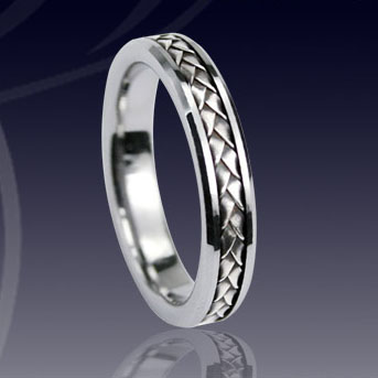 WCR0322-Tungsten Wedding Band With Gold Inlay
