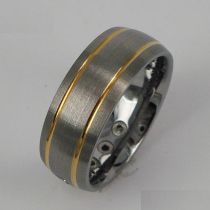 WCR0323-Tungsten Wedding Bands With Gold Inlay