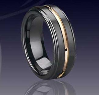 WCR0324-Tungsten Ring With Gold Inlay