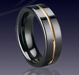 WCR0325-Tungsten Rings With Gold Inlay