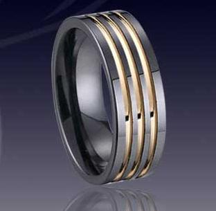 WCR0326-Tungsten Wedding Rings With Gold Inlay