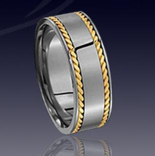 WCR0327-Tungsten Wedding Bands With Gold Inlay