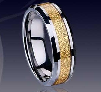 WCR0329-Gold Inlay Tungsten Carbide Rings