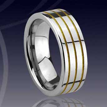 WCR0331-Gold Inlay Tungsten Carbide Wedding Rings