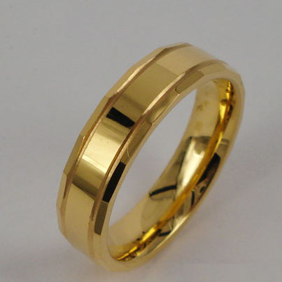 WCR0287-Gold Plating Tungsten Carbide Band