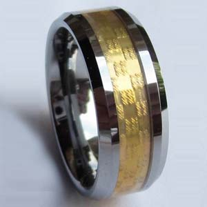 WCR0292-Gold Plated Tungsten Wedding Bands