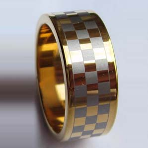 WCR0293-Gold Plated Tungsten Carbide Wedding Band