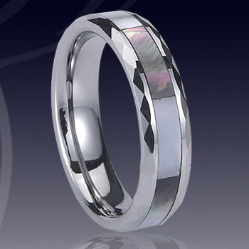 WCR0487-Tungsten Ring Shell Inlay