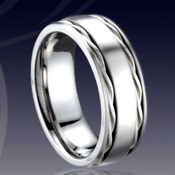 WCR0513-Shell Inlaid Tungsten Carbide Wedding Ring