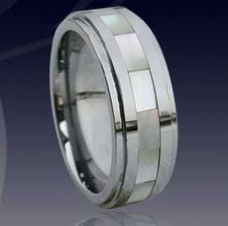 WCR0516-Shell Inlaid Tungsten Carbide Wedding Bands