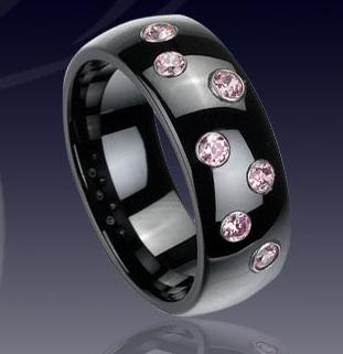 WCR0222-Popular Tungsten CZ Stone Ring