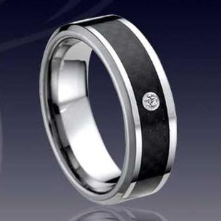 WCR0226-Tungsten CZ Stone Ring