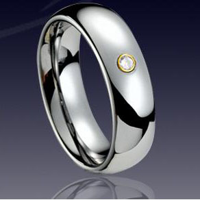 WCR0227-Tungsten CZ Stone Rings